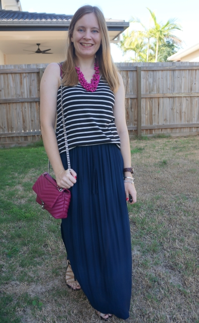 black stripe tank with navy maxi skirt and magenta accessories edie bag statement necklace | awayfromblue