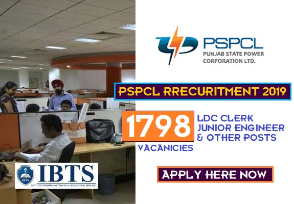 PSPCL Recruitment 2019 - Apply Online for 1798 LDC & JE & Other Posts