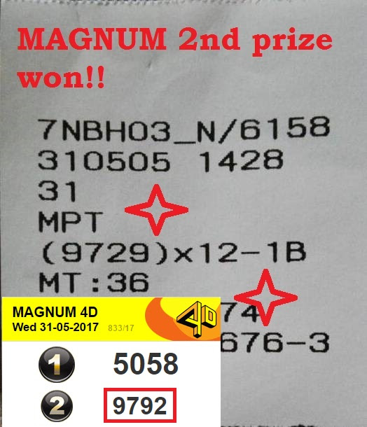 Uncle Kumar Super 4D wins Magnum 2nd (Second) top podium prize in Malaysia lottery on 31 May 2017, Wednesday.