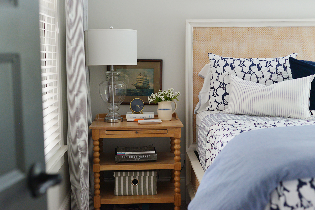 cottage bedroom, Serena & Lily bedding, Cortina quilt, spool nightstand