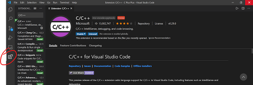 On Microsoft Visual Studio Code: using red ink, the extensions tab, targeted