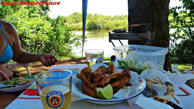 Peixe frito com cerveja a beira do lago no camping