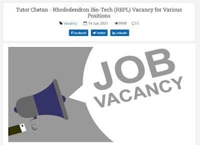 Tutor Chetan - Rhododendron Bio-Tech (RBPL) Vacancy for Various Positions