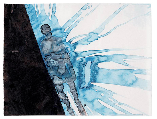 Anthony Gormley Night Dream (Bermuda), 1998 [from serie Bermuda Drawings, 1998] Pigment, casein and copper sulphate on paper 22.9 x 30.3 cm