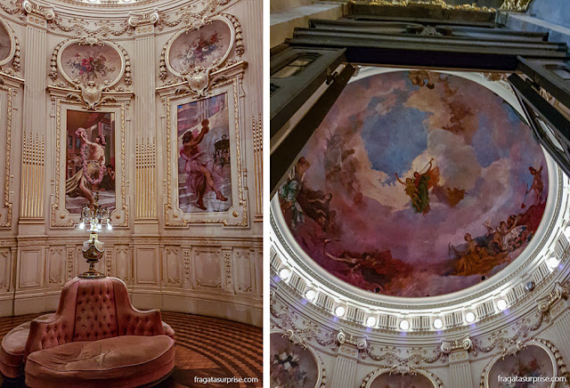 Um antessala das galerias, no primeiro andar e o  interior da cúpula do Theatro Municipal