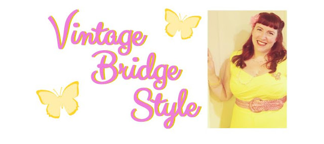 Vintage Bridge Style banner in pink and yellow with photo of Bridget Eileen red hair pinup style with victory roll and yellow vintage dress and pink accessories