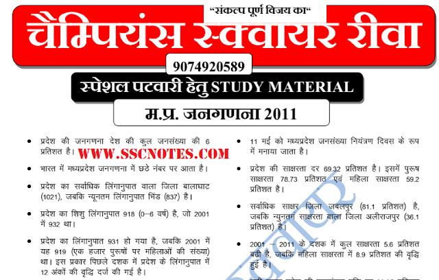 MP Vyapam Patwari General Knowledge GK Question PDF Download