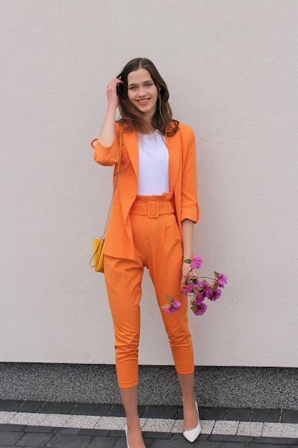 elegancka stylizacja- garnitur- spodnie paperbag
