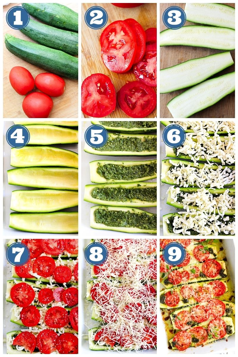 Collage of step-by-step images of Tomato and Pesto Stuffed Zucchini Boats being made.