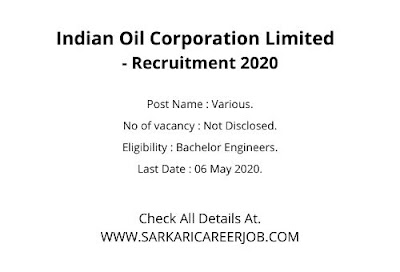 IOCL Recruitment Through GATE 2020   Engineers Posts IOCL Latest Govt Jobs.