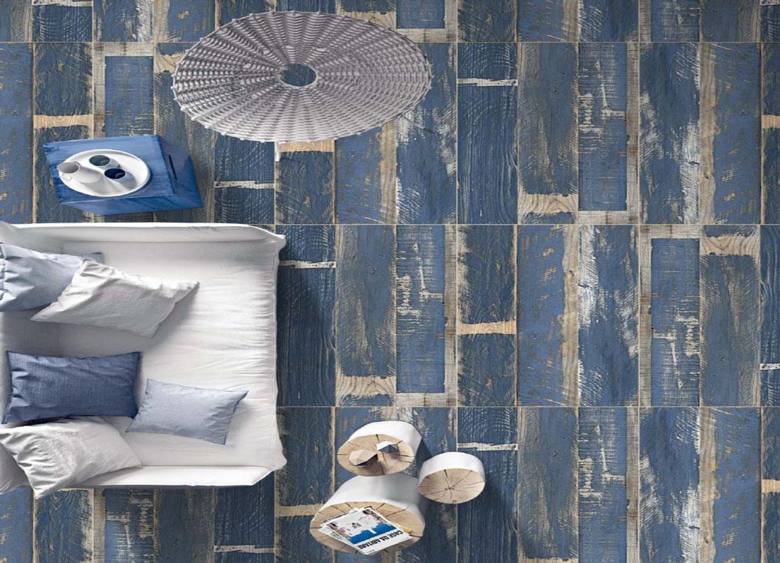 Blue porcelain tile