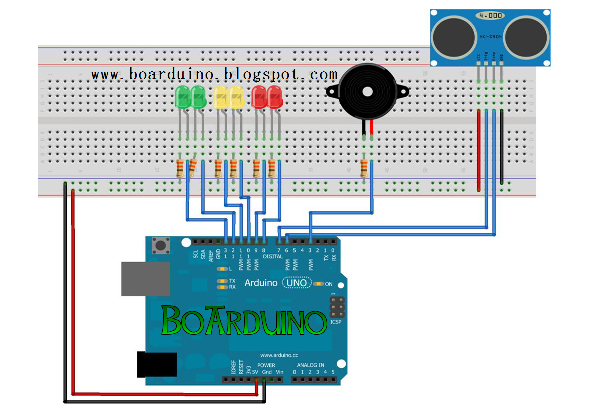 Ultrasonic Sensor Dan Led Di Arduino Boarduino