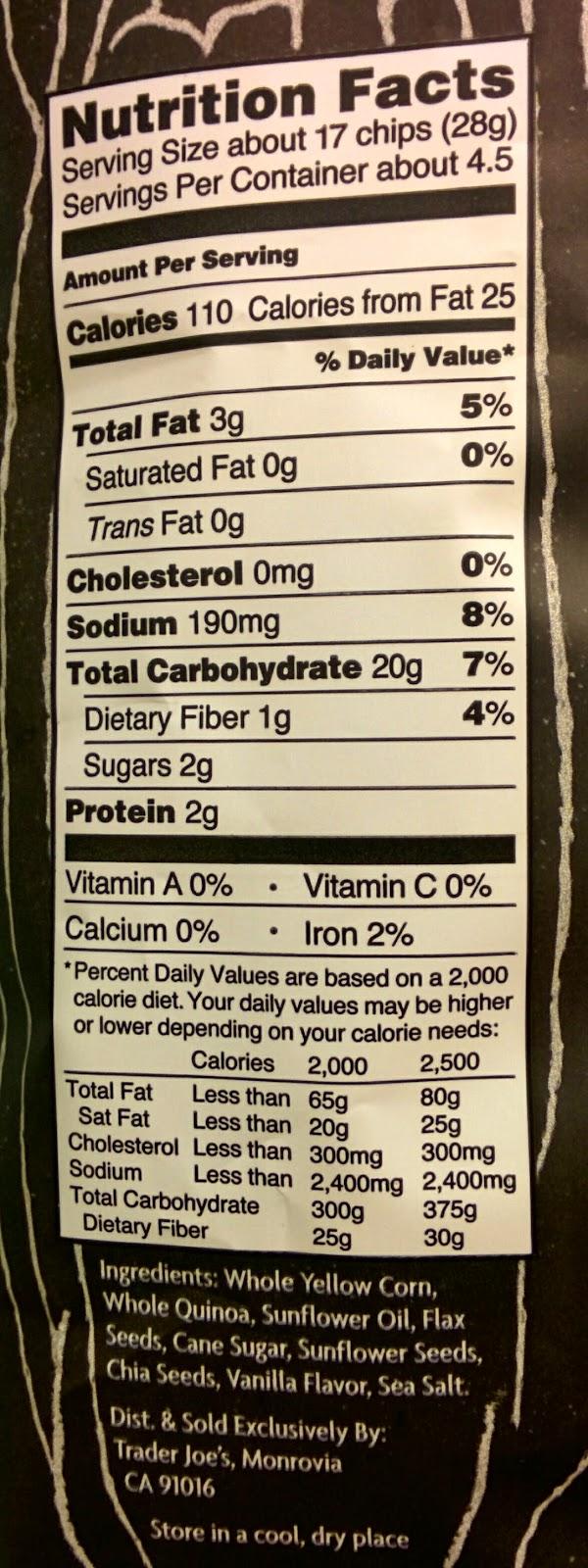 Trader Joe's Nutrition Labels: Trader Joe's Kettle Popped Sweet & Salty Popcorn Chips