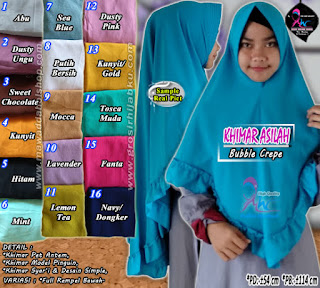 Khimar rempel pet antem model pinguin bahan bubble crepe