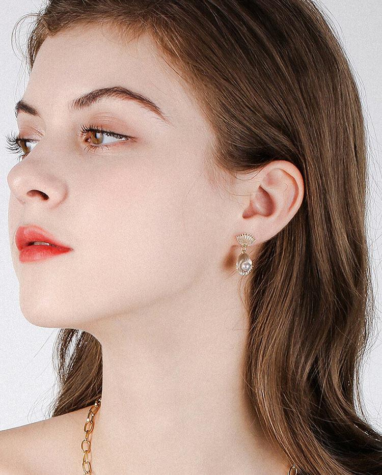 唯美貝殼珍珠耳環