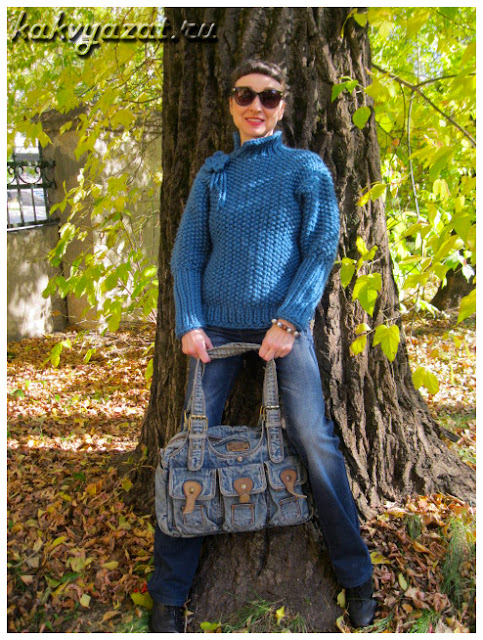 Авторская модель свитера из толстой пряжи.