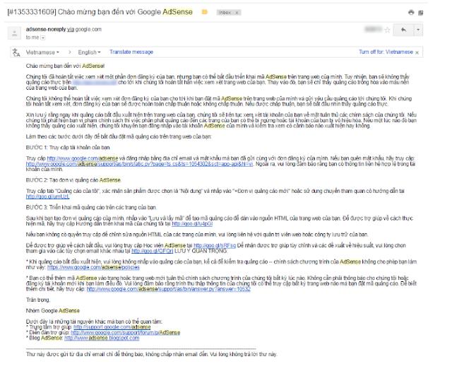 Đăng ký thành công tài khoản google adsense