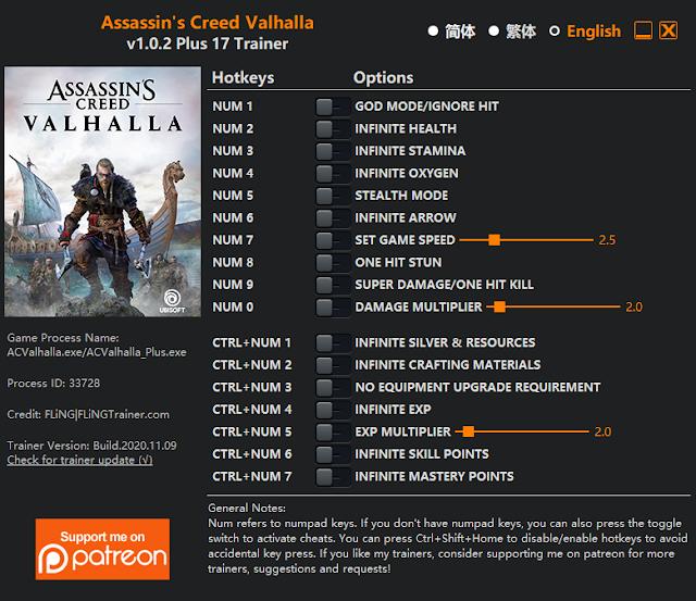 Tampilan Menu Trainer Assassin's Creed Valhalla PC
