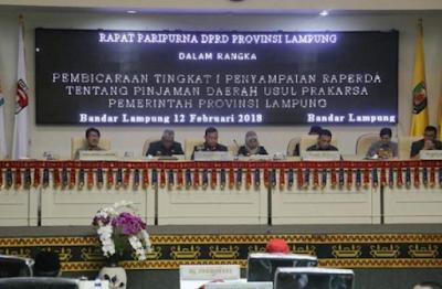 DPRD Provinsi Lampung Gelar Paripurna Pandangan Umum Fraksi Terhadap Raperda Pinjaman Daerah