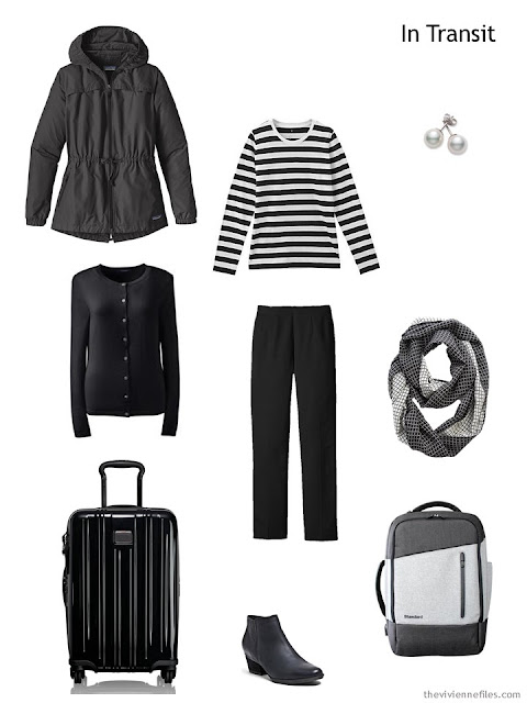 travel outfit in black and white, for cold weather