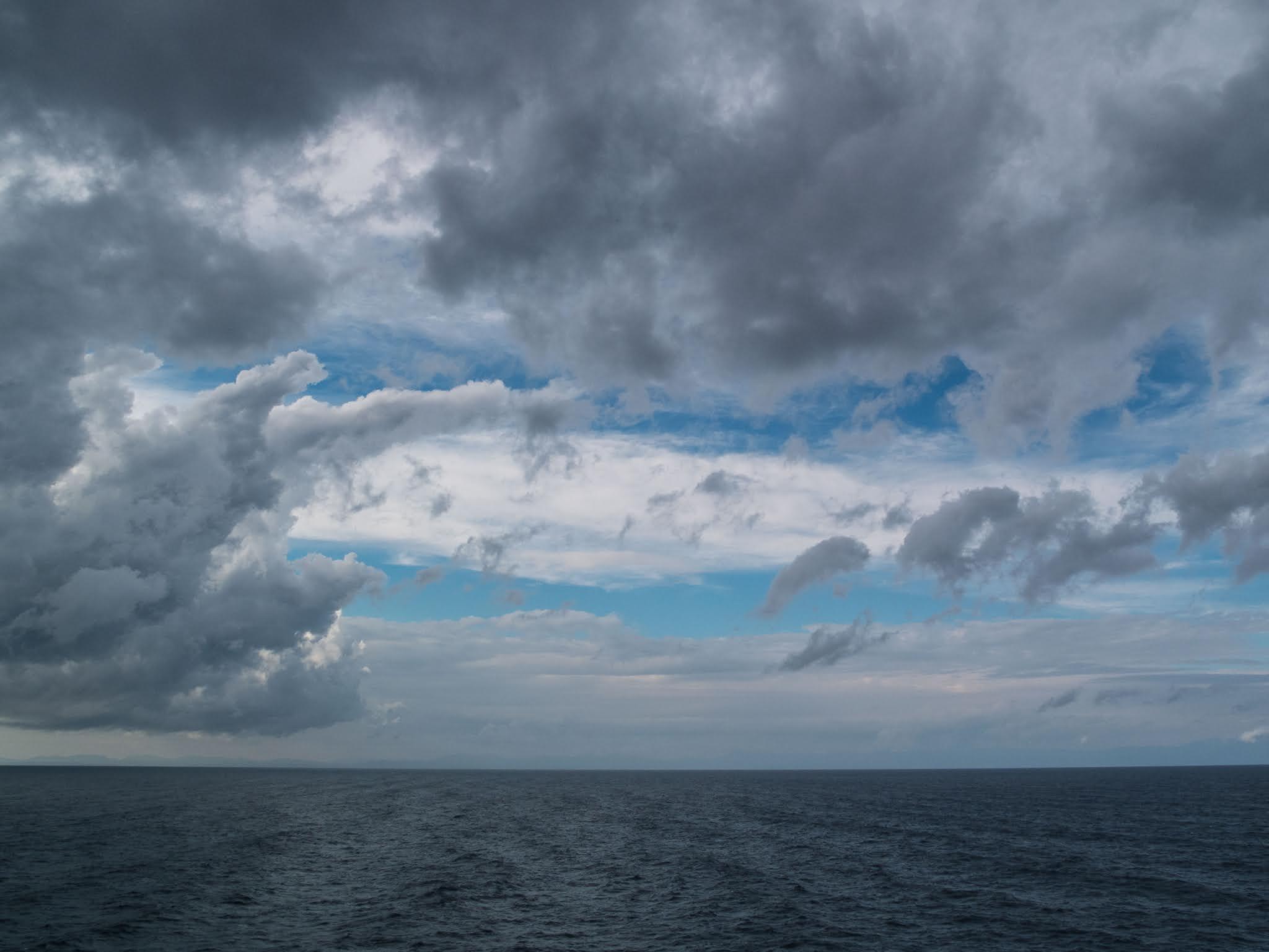 Cloudy sky over the Mediterranean Sea.