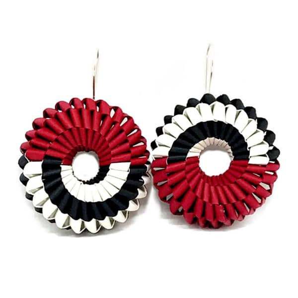 circular and bold woven red, black, and white folded paper earrings