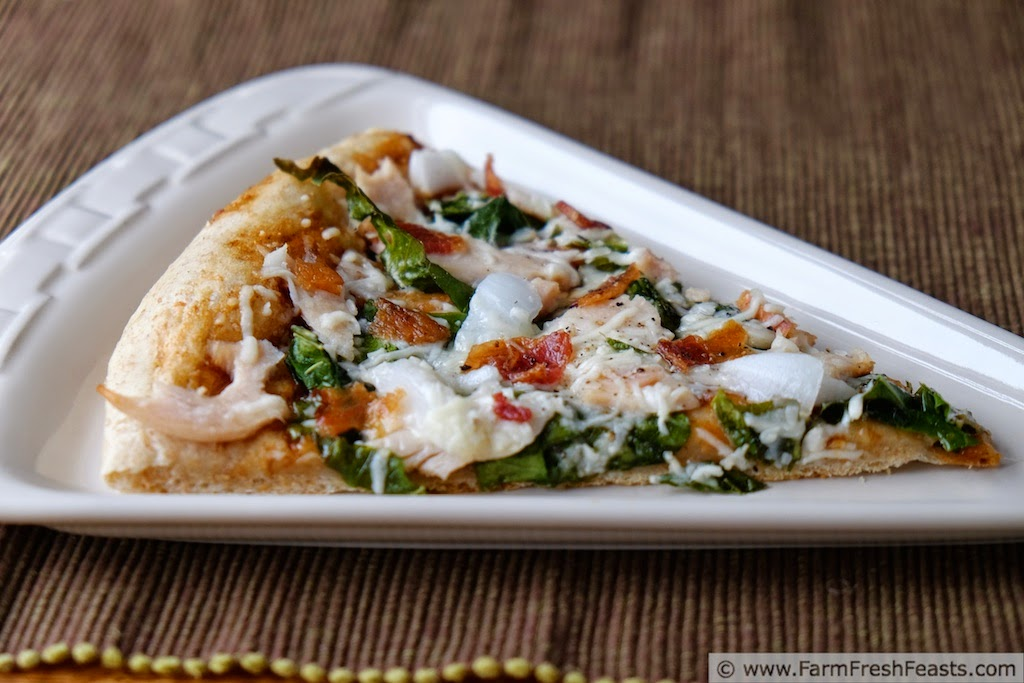 Pizza with BBQ Chicken, Bacon and Kohlrabi Greens | Farm Fresh Feasts