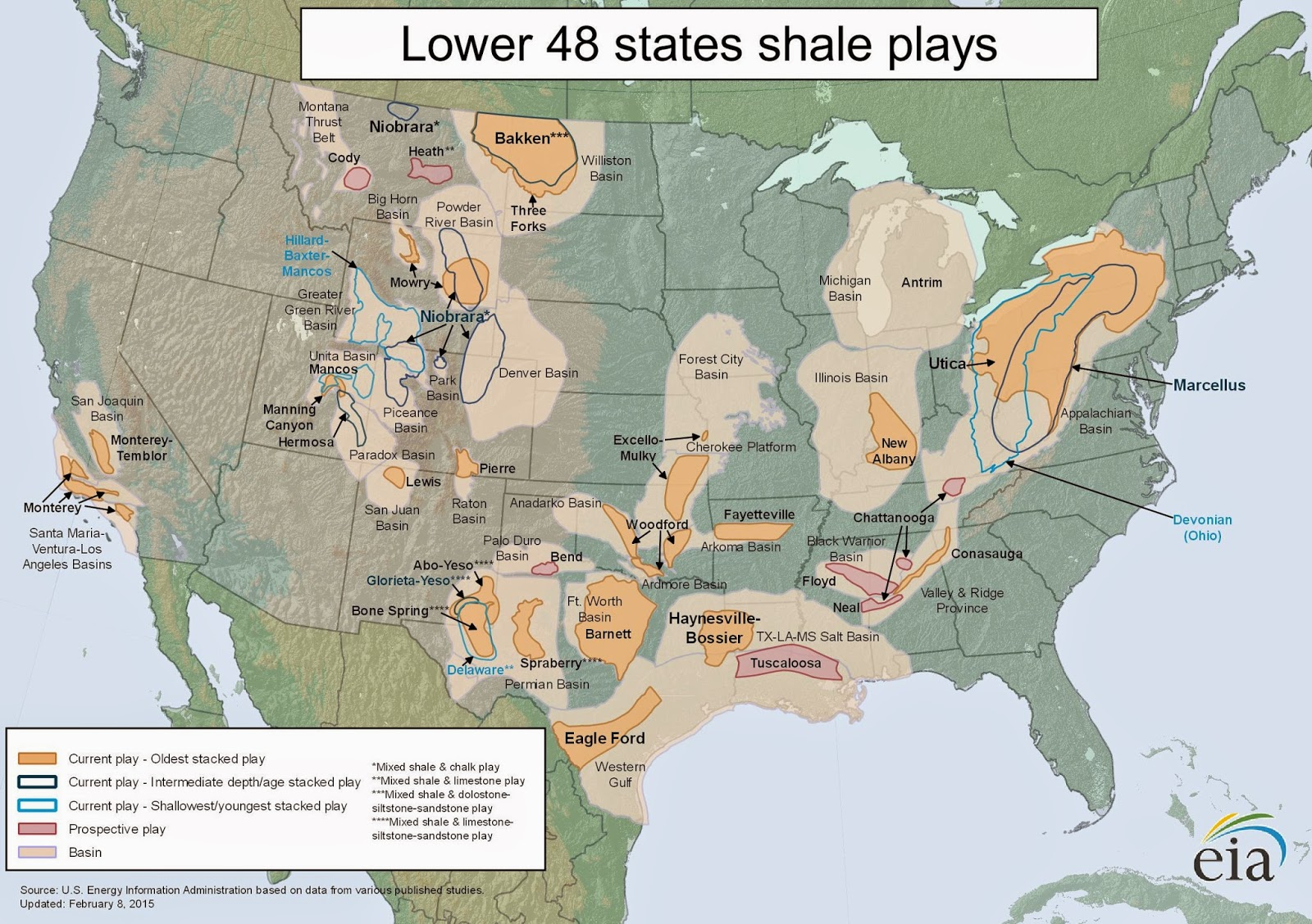 EIA: Lower 48 Shale Plays - 8 February 2015