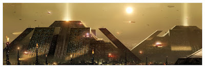 "The Terminator ""Skynet"" & Blade Runner ""The Pyramid"" Cityscapes Fine Art Giclee Prints by Pablo Olivera x Bottleneck Gallery"
