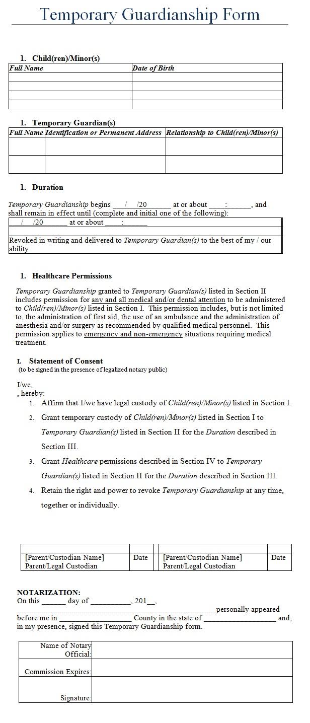 temporary guardianship form template sample