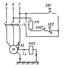 Защитное отключение в цепи асинхронного двигателя