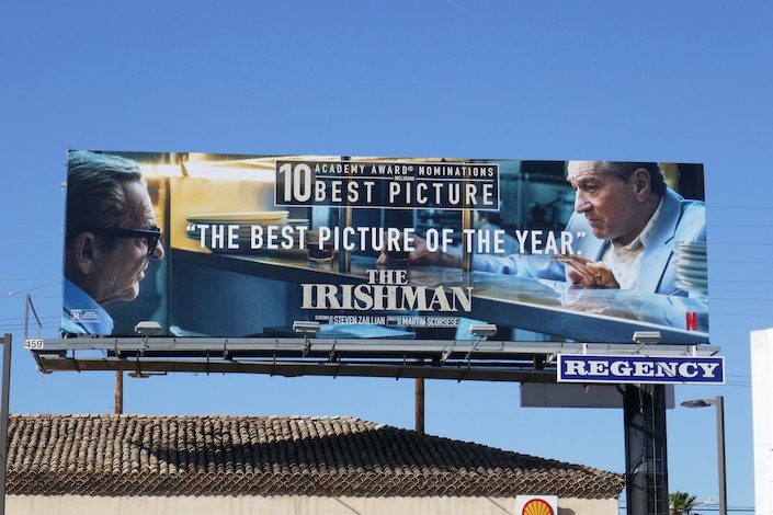 Irishman 10 Academy Award billboard