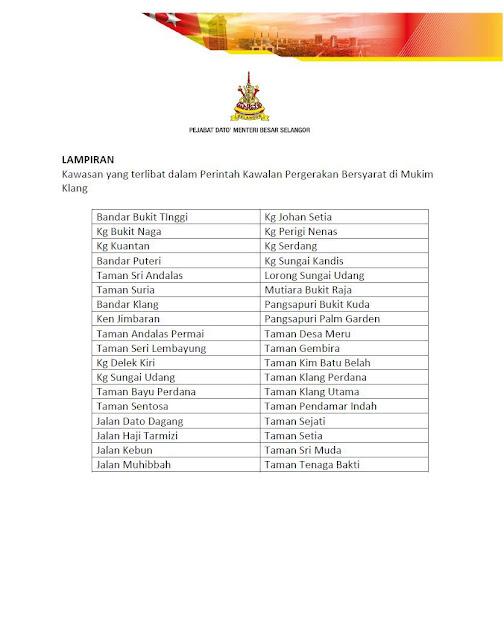 36 kawasan di mukim klang diadakan pkpb bermula 9 oktober