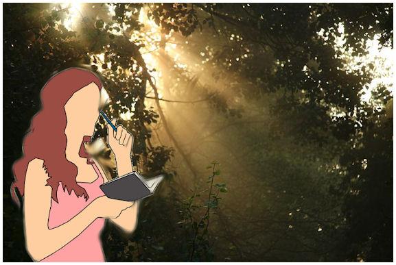 Puun lehvistön välistä siivilöityvät kesäisenkirkkaat auringonsäteet taustalla ja etuosassa piirroshahmo naisesta kynä ja muistikirja käsissään.