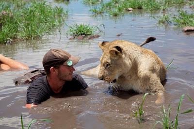Valentin Gruener e a leoa Sirga  em cena da série Coração de Leão - Divulgação