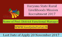 Haryana State Rural Livelihoods Mission Recruitment 2017– 21 District Functional Manager