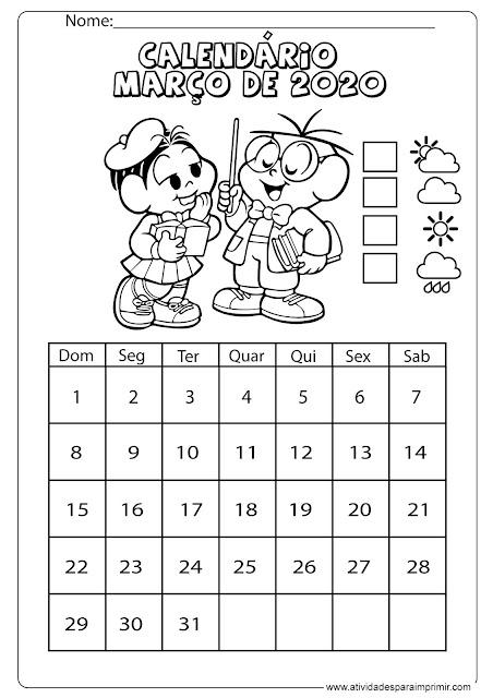 Calendário março 2020
