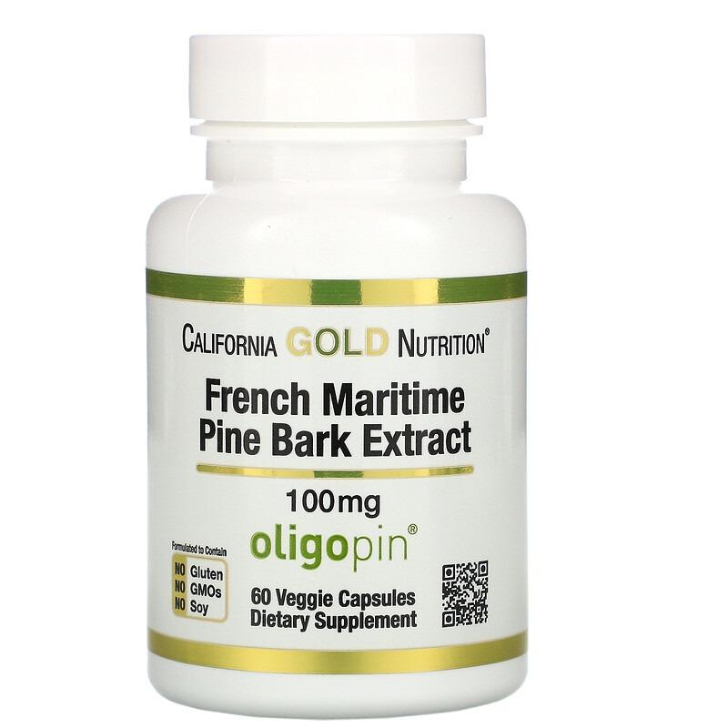 California Gold Nutrition, Oligopin, экстракт коры французской приморской сосны, полифенольный антиоксидант, 100 мг, 60 растительных капсул