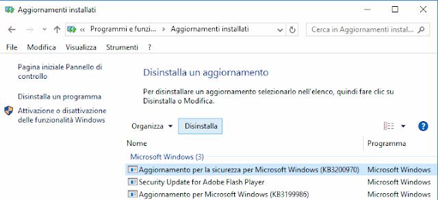 Windows 10 disinstallare aggiornamenti