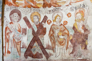 sword, cross, church, wall, andrew, medieval, heritage, key, chalice, mural, painting, fresco, holy, john, art, peter, saint, apostle, editorial, gothic, sweden, paul, key of heaven, the keys of heaven, st. https://www.shutterstock.com/image-photo/medieval-fresco-four-apostles-st-peter-559618312