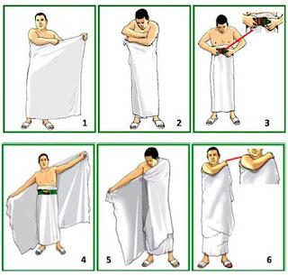 Gambar Cara Mengenakan Ihram Laki- laki