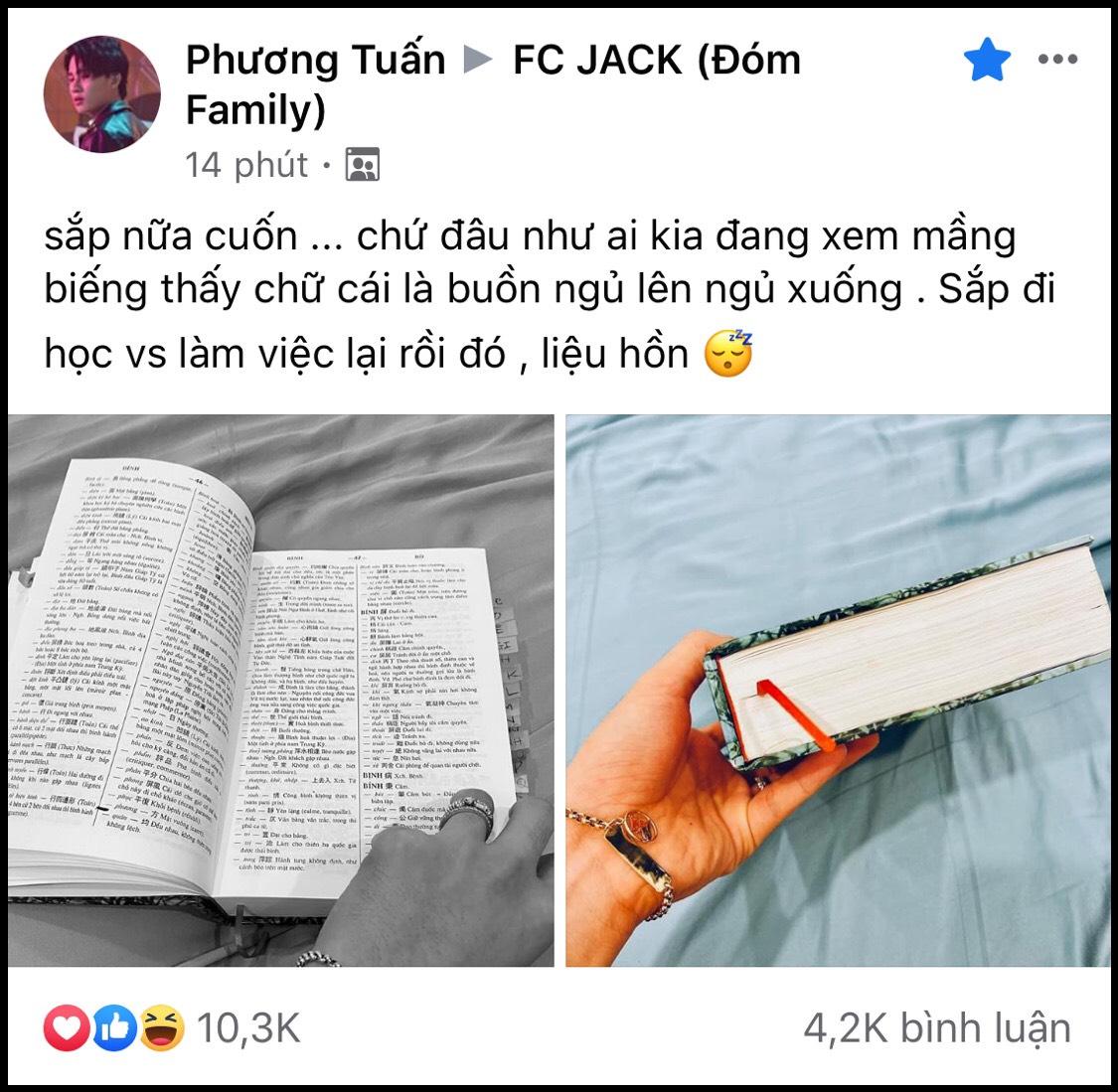Ở nhà mùa dịch, Jack đọc hết nửa cuốn sách dày nghìn trang kèm lời 'nhắc nhẹ' fan nhỏ tuổi: 'Noi gương anh, lo học đi!'