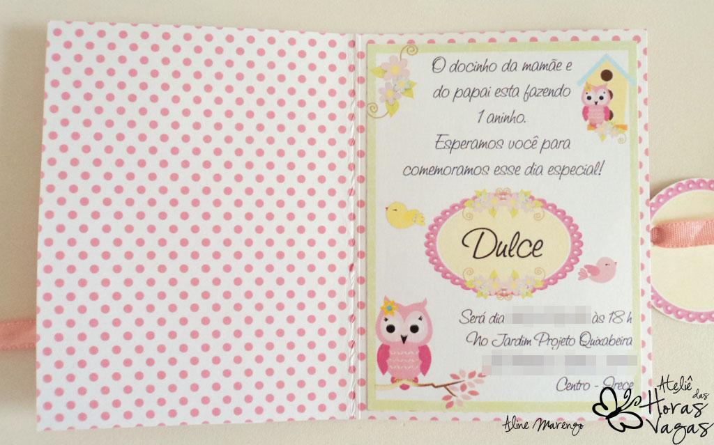 convite artesanal aniversário infantil coruja corujinha passarinho rosa amarelo verde azul