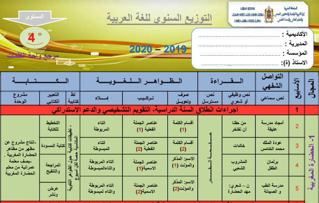 التوزيع السنوي اللغة العربية في واحة الكلمات المستوى الرابع ابتدائي طبعة 2019