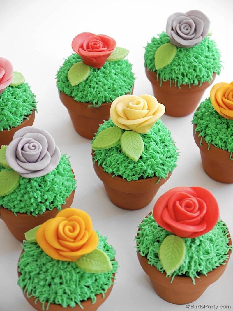 Flowerpot Chocolate Chip Cupcakes with Sugar Paste Flowers
