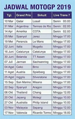Jadwal MotoGP 2019 lengkap bersama gambar tabel jadwal MotoGP 2019