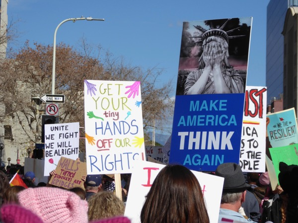 Womens March LA Make America think again sign