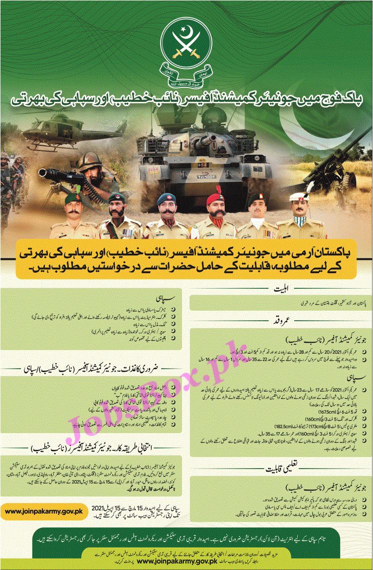 Latest Pak Army as Sipahi & Naib Khateeb All Over Pakistan Jobs 2021