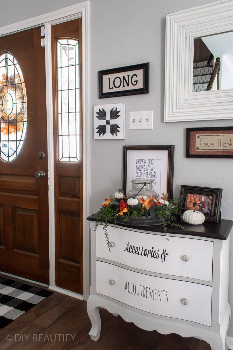 front entry with fall decor