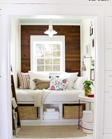 beach cottage reading nook